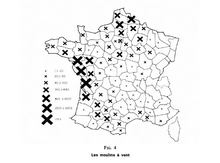 Les implantations de moulins à vent en France en 1809