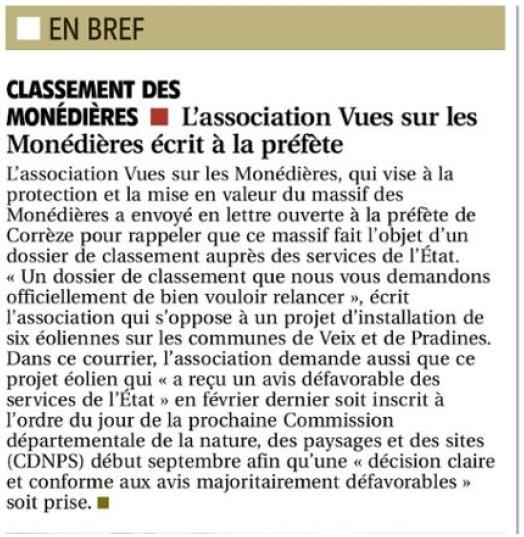 Article La Montagne 27.08.202O