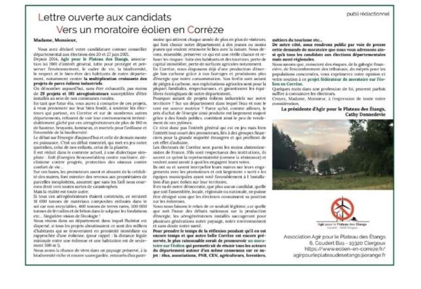 lettre ouverte aux candidats Agir pour le Plateau des Etangs